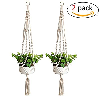 Pack of 2, Macrame Plant Hanger, Indoor Outdoor, Plant Holder, Hanging Planter Wall Art, Cotton Rope 4 Legs 41 inch Garden Home Decoration