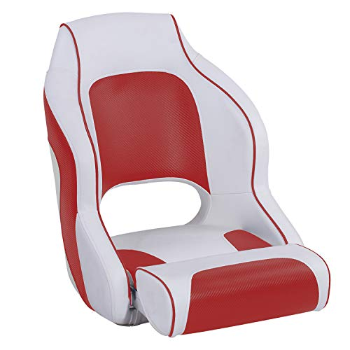 (North Captain M1 Premium Sports Flip Up Boat Seat Captain Bucket Boat Seat,White/Red)