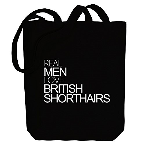 Idakoos British men love Cats Real Canvas Shorthairs Bag Tote AAFqwPrxWt