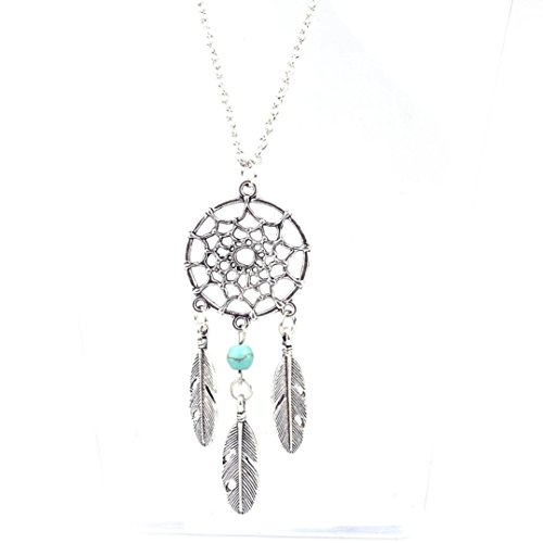 Bestpriceam Bohemian National Wind Tassel Feather Turquoise Long Necklace