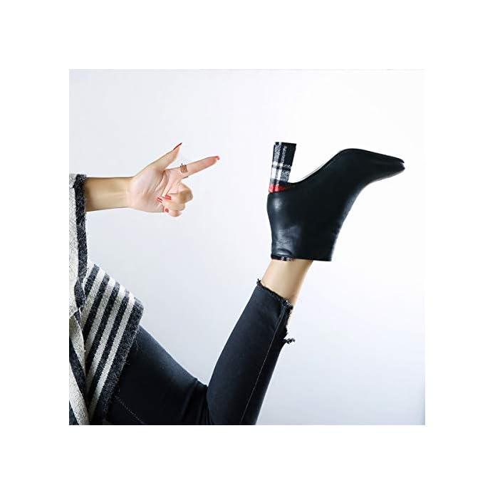 Lbtsq-scarpe Con Tacchi Alti Testa Quadrata Camoscio Pesante Tallone Dei Colori 7cm Breve Stivali A Scarponi Cotone Scarpe Temperamento