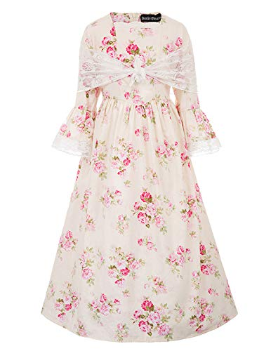 Colonial Girls Dress Prairie Pioneer Costume 12Y Color-1 (For Dresses Colonial Pink Girls)