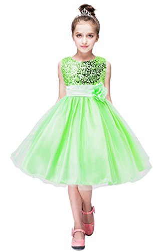 YMING Girls Flower Sequin Princess Tutu Tulle Birthday Party Dress 4-5 Years Green