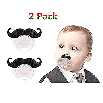 2 Pack Baby Funny Pacifier Cute Kissable Mustache Pacifier For Babies and Toddlers Unisex - BPA Free Latex Free made With Silicone (Black2) Luckytravel Mall