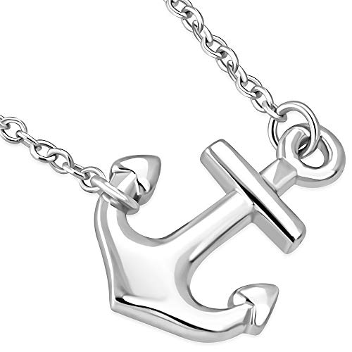 925 Sterling Silver Classic Polished Anchor Horizontal Sideways Pendant Necklace, 18