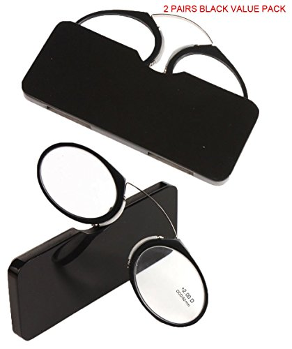SOOLALA Women Men Go Everywhere SOS Pince Nez Style Nose Resting Pinching Portable Wallet Reading Glasses, 2Pairs, - Glasses Online Cool Reading