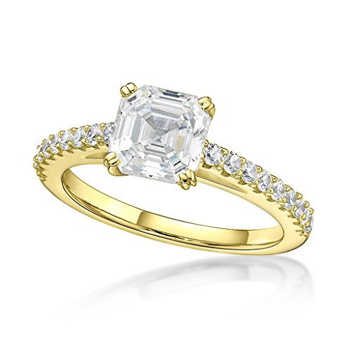 NaNa Silver 7mm (2ct) Asscher Cut Swarovski Zirconia Solitaire Engagement Ring-Yellow Gold Plated-Size 7.5