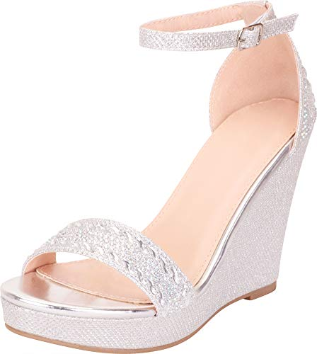 Cambridge Select Women's Crystal Rhinestone Chunky Platform Wedge Sandal,7 B(M) US,Silver Glitter