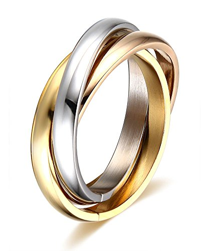Stainless Steel Tri color Gold Plated,Rose, Tone Interlocked Rolling Wedding Band Ring Women,Size 6 - Six Band Rolling Ring