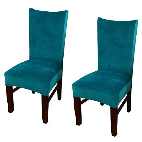 Pinji 2Pcs Stretch Chair Cover Thicken Removable Dining Room Protector Seat Slipcover Peacock Blue (And Chairs Craigslist Table Kitchen)
