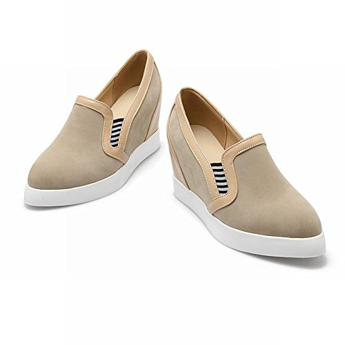 Carolbar Womens Fashion Comfort Date Party Pull-On Wedge Heel Casual Shoes Apricot r95YQT2aha