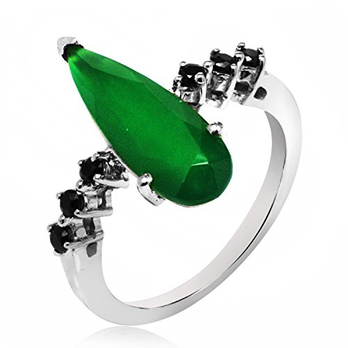 3.50 Ct. Round Black Cz & Pear Shape Green Emerald Gemstone Ring In 925 Sterling Silver For Women (Emerald Shape Ring Setting)