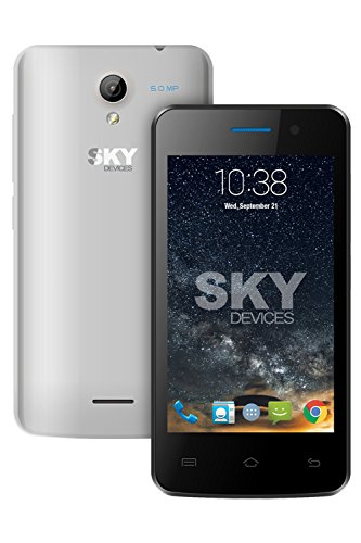 SKY Devices Fuego Series 4.0D - GSM Unlocked HSPA+21Mbps 4GB Dual-SIM, Dual-Core Android KitKat 4.4 Global Smartphone with 5MP+1.3MP Cameras & 4.0' WVGA Display - Silver