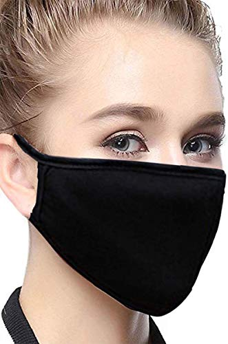 Face Mask Anti Dust Mouth Mask 6 Pcs Unisex Mouth Mask Reusable Fashion Mask Anime Face Mask Washable Mask for Cycling Camping Travel for Adults, Black