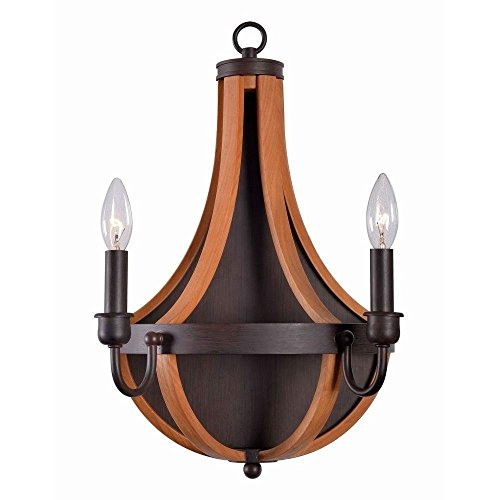 World Imports WI-3069-42 Taylor Collection 2-Light Rust/Wood Indoor Wall Sconce by World Imports