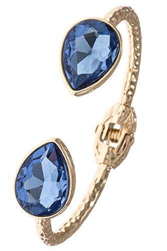 Pewter Filigree Bead - Karmas Canvas Hammered Detailed Teardrop Tip Cuff Metal Bracelet (Blue)