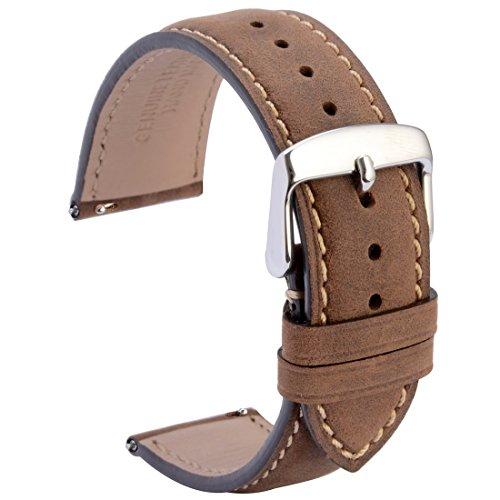 WOCCI Watch Bands Quick Release,22mm Dark Brown Vintage Full Grain Leather Watch Strap Belt for Men Women