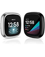 KIMILAR [2 Sztuki] Etui Ochronne Kompatybilny z Fitbit Sense/Versa 3, (Nie do Versa/versa 2) Pełne Pokrycie, Miękkie Tworzywo TPU Cover Case Folia Ochronna do Versa 3/Sense Smartwatcha