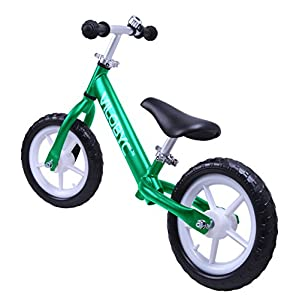 """12"""" Anodised Aluminium Alloy Kids Push Ultralight Balance Bike (4.3 lbs) for Chirld 18month to 5years old Bicycle, Green By Vilobyc …"""