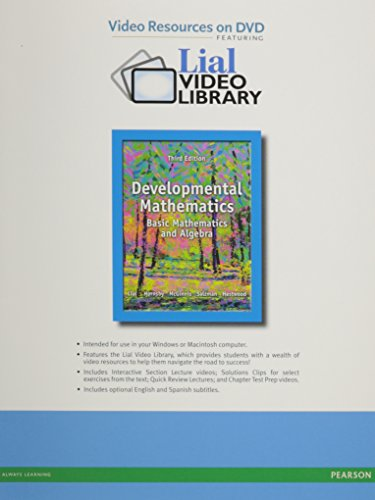 Video Lectures on DVD with Chapter Test Prep Videos for Developmental Mathematics: Basic Mathematics and Algebra, Develo