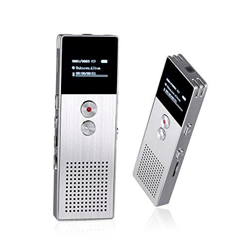 Digitaler Diktiergeräte, Peficecy 8 GB MP3 Player erweiterbar auf bis zu 32GB, tragbar, multifunktionaler, wiederaufladbarer Diktaphon Rekorder für Interview, Sitzung, Vorträge, Klasse (M25 Silber)