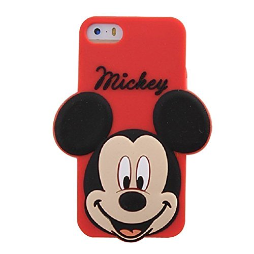 iPhone 5C Red Big Face Mickey Mouse Silicone Case,iPhone 5C 3D Cartoon (Big Rubber)