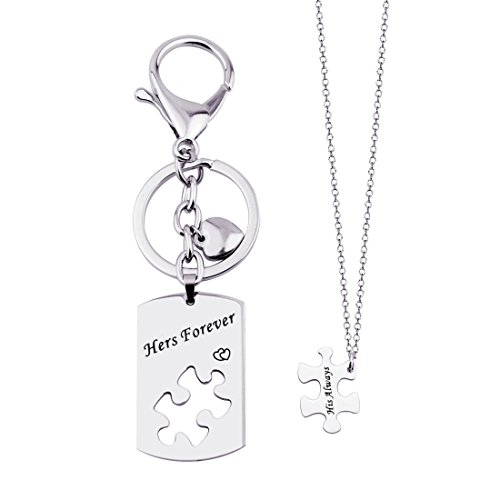 KUIYAI His Always Hers Forever Puzzle Piece Necklaces Keychain Set for Couples (Dog tag Puzzle Set)