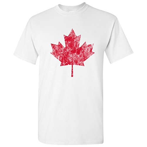 Canadian Maple Leaf Distressed Vintage Basic Cotton T-Shirt - Medium - White