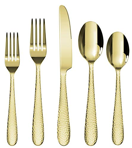 Gold Silverware Set, Stainless Steel 20-Piece Flatware Cutlery Set for 4, Hammered Lines Mirror Finish Utensil Include…