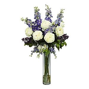 Artificial Flowers -Rose Delphinium and Purple Lilac Flower Arrangement Artificial 8