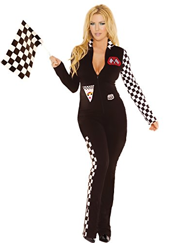 Zabeanco Race Car Driver Costume Jumpsuit Checkered Sleeve Sides Racing -