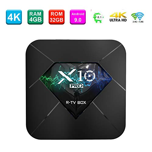 Android 8.1 OS TV Box, 4GB RAM 32GB ROM, R-TV BOX Amlogic S905X2 Quad-Core CPU Dual Band Wifi LAN Bluetooth