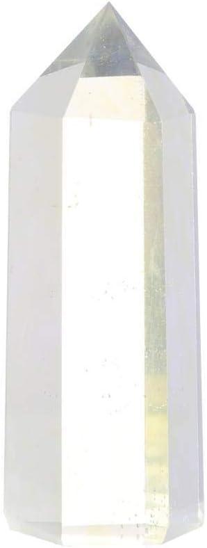 Leezo - Vara de cristal curativo de una sola punta, piedra natural pulida, decoración de piedras para hacer joyas, decoración para el hogar y la oficina, Plateado, 4-6cm