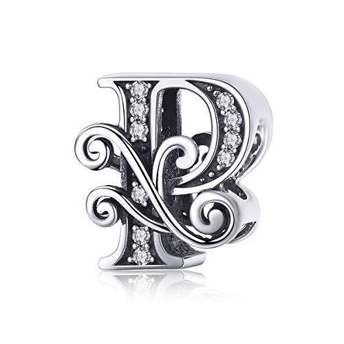 Solid 925 Sterling Silver with Cubic Stones, Complete A~Z Gift Options Alphabet Charm Letter Beads fit Pandora European Bracelets (P)