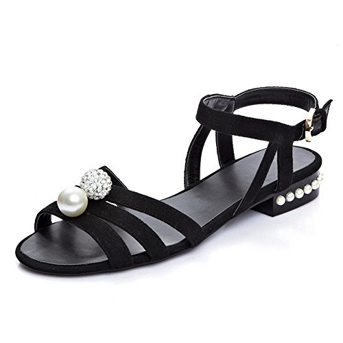 AmoonyFashion Womens Solid Cow Leather Low Heels Open Toe Buckle Sandals Black I9CvNVvfc