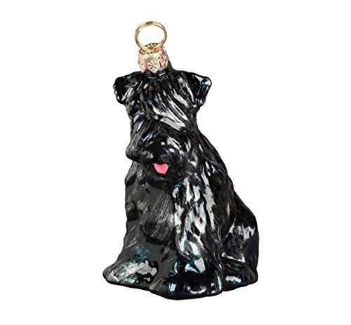 Joy To The World Black Russian Terrier Sitting Dog Polish Blown Glass Christmas ()