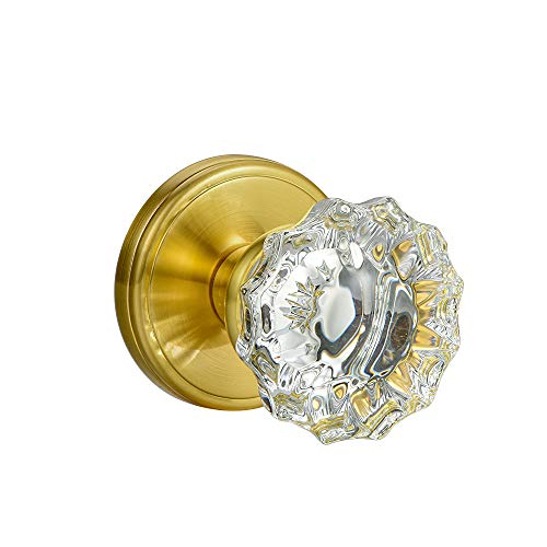 SHINY HANDLES Clear Crysyal Round Vintage Door Knobs,Passage Function,Polished Brass (Privacy Function, Polished Brass)