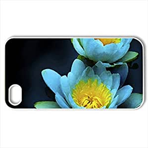 Blue Beauty - Case Cover for iPhone 4 and 4s (Flowers Series, Watercolor style, White)