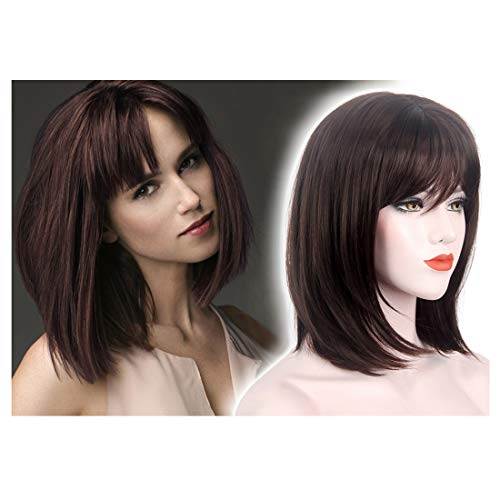 STfantasy Bob Wig Shoulder Length Straight Cosplay Costume Party Synthetic Hair (Havana Brown #6)