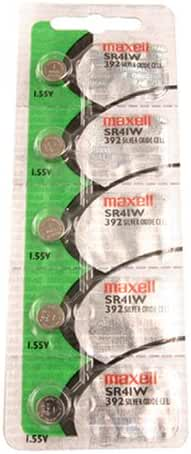Maxell Watch Battery Button Cell SR41W 392 Pack of 5 Batteries