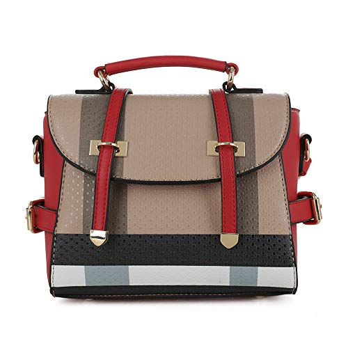 SG SUGU Small Plaid Lightweight Crossbody Bag Fashion Backpack Top Handle Purse | Brown/Red
