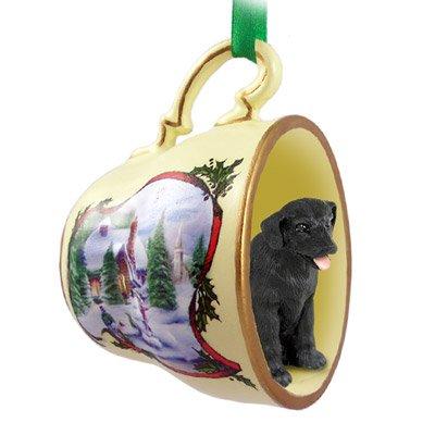 (Black Labrador Retriever Christmas Ornament Holiday Scene Tea Cup)