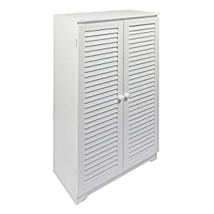 woodluv Free Standing Tall Hallway Bedroom Bathroom Shoe Rack Louvered Doors Cabinet, (L) 60 x (W) 32 x 100(H) cms-White, Wood, 60x32x100 cm
