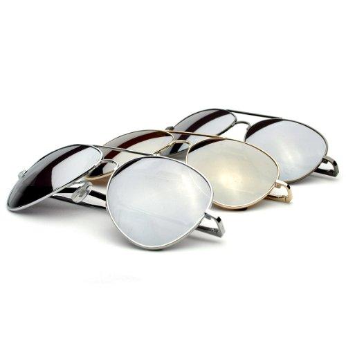 zeroUV - Premium Mirrored Aviator Top Gun Sunglasses w/ Spring Loaded Temples (3-Pack (Silver + Gold + - Sunglasses Top Gun Aviator