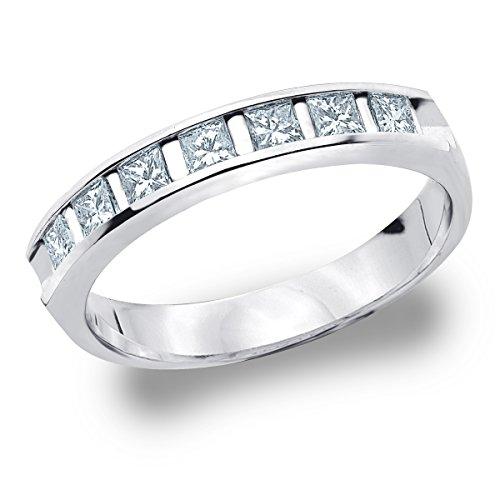 Platinum Diamond Princess Cut Bar Set Ring (1.0 cttw, E-F Color, VVS1-VVS2 Clarity) Size - Princess Cut Set Bar Diamond