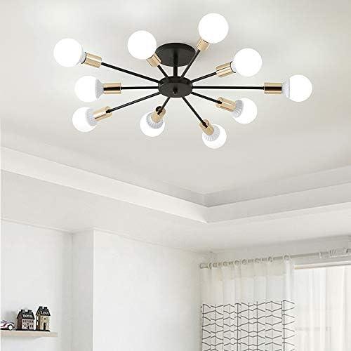 """Dellemade - Lampadario """"Sputnik"""", a 10 luci, in stile vintage, per sala da pranzo, soggiorno, cucina, ufficio, caffetteria, ristorante, colore: nero"""