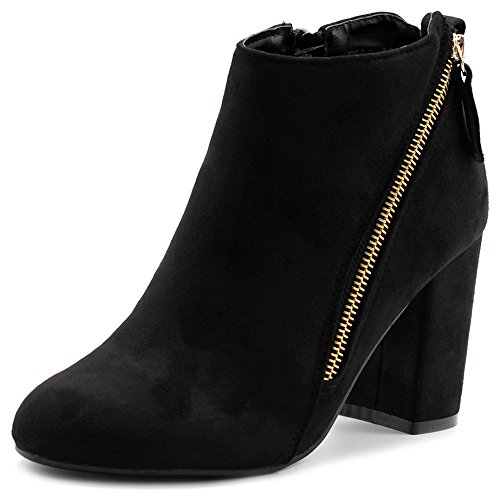 Ollio Women's Shoe Faux Suede Zipper Accent Ankle Chunky Heels Booties TWB0108(8.5 B(M) US, Black) Ankle Accent