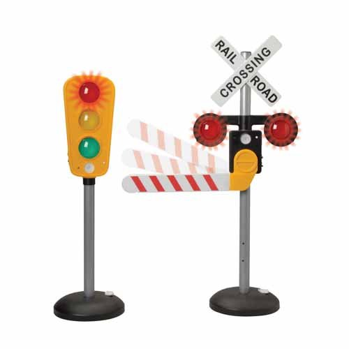 Interactive Traffic Signs - Light-up, Talking Traffic Light & Railroad Crossing (Railroad Toy Crossing)