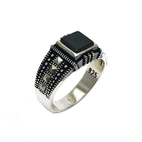 argunjewellery Turkish Jewelry Square Black Onyx Marcasite Cool 925K Sterling Silver Men's ()
