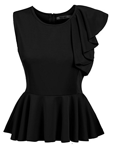 Black Satin Stretch Sleeveless Top (Beyove's Women's Ruffles Peplum Sleeveless Dressy Blouse Tops, Black, X-Large)